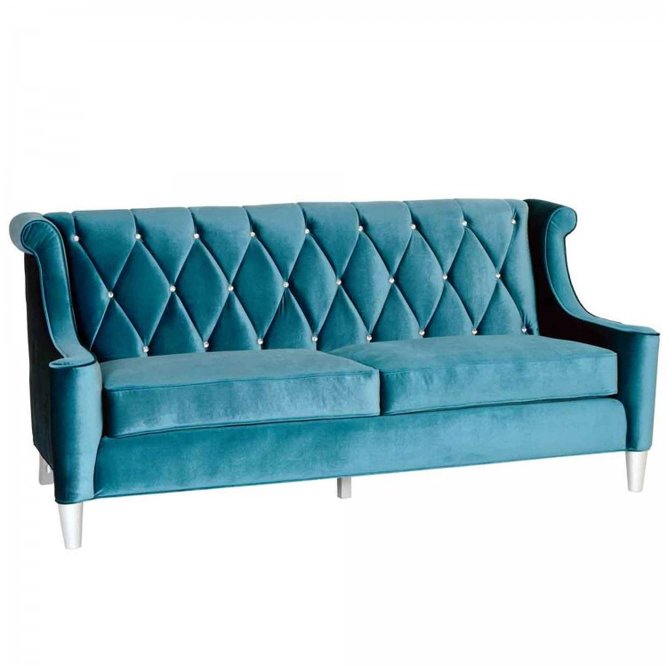 Barrister Sofa In Blue Velvet With Crystal Ons
