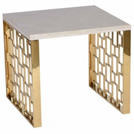 Skyline End Table With White Top,Gold Metal Base