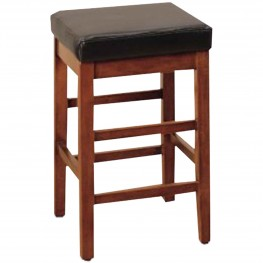 "Sonata 30"" Stationary Barstool in Brown Bonded Leather"