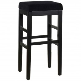 "Sonata 30"" Stationary Barstool in Black Microfiber with Black Legs"