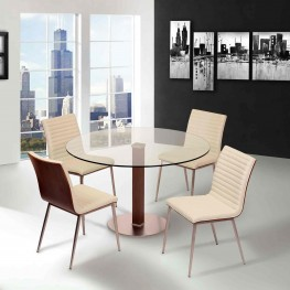 Café Brushed Stainless Steel Dining Chair in White Pu with Walnut Back (Set Of 2)
