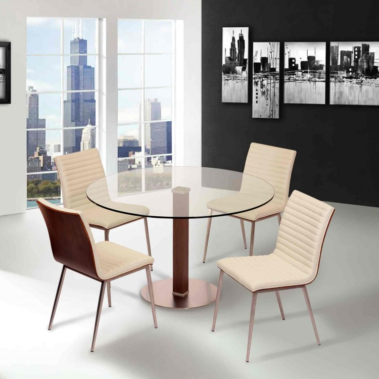 Brushed Stainless Steel Dining Chair in White Pu with Walnut Back ...