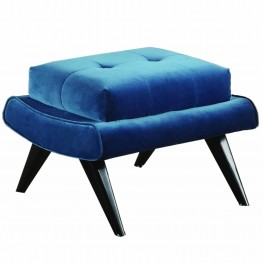 5th Avenue Velvet Ottoman in Cerulean Blue with Ebony Wood Legs