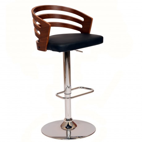Adele Swivel Barstool In Black PU/ Walnut Veneer and Chrome Base