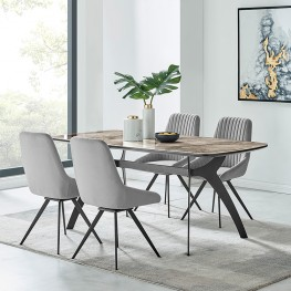 Andes and Alison Gray Velvet 5 Piece Rectangular Dining Set