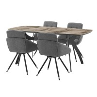 Andes and Granada Gray Fabric 5 Piece Rectangular Dining Set
