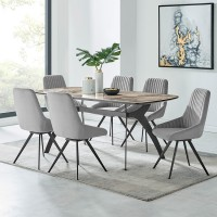 Andes and Alison Gray Velvet 7 Piece Rectangular Dining Set