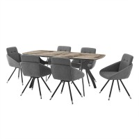 Andes and Granada Gray Fabric 7 Piece Rectangular Dining Set
