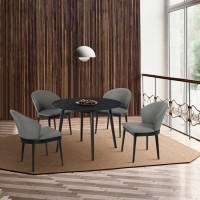 """Arcadia and Juno 42"""" Round Charcoal and Black Wood 5 Piece Dining Set"""