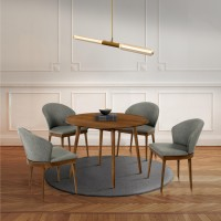"""Arcadia and Juno 42"""" Round Charcoal and Walnut Wood 5 Piece Dining Set"""