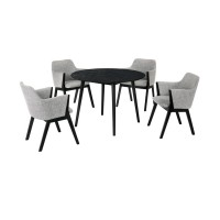 """Arcadia and Renzo 42"""" Round Grey and Black Wood 5 Piece Dining Set"""