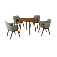 """Arcadia and Renzo 42"""" Round Charcoal and Walnut Wood 5 Piece Dining Set"""