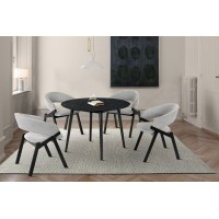 """Arcadia and Talulah 42"""" Round Grey and Black Wood 5 Piece Dining Set"""
