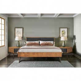 Coco Rustic 3 Piece Upholstered Platform Bedroom set in King with 2 Nightstands