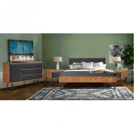 Coco Rustic 4 piece Upholstered Platform Bedroom Set in King with Dresser and 2 Nightstands