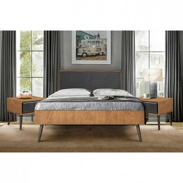 Coco Rustic 3 Piece Upholstered Platform Bedroom set in Queen with 2 Nightstands