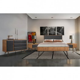 Coco Rustic 4 piece Upholstered Platform Bedroom Set in Queen with Dresser and 2 Nightstands