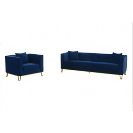 Everest 2 Piece Blue Fabric Upholstered Sofa & Chair Set