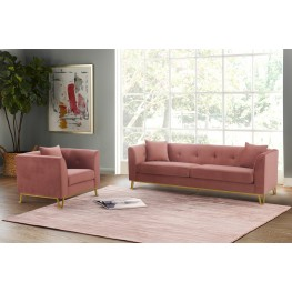 Everest 2 Piece Blush Fabric Upholstered Sofa & Chair Set