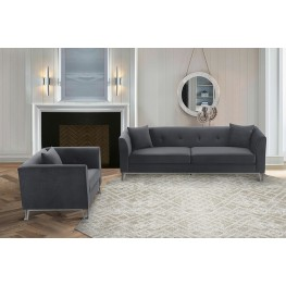 Everest 2 Piece Gray Fabric Upholstered Sofa & Chair Set