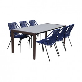 Fineline and Clip Indoor Outdoor 7 Piece Dining Set in Dark Eucalyptus Wood with Superstone and Blue Rope
