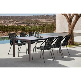 Fineline and Clip Indoor Outdoor 7 Piece Dining Set in Dark Eucalyptus Wood with Superstone and Black Rope