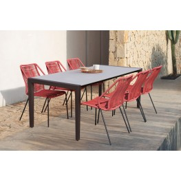 Fineline and Clip Indoor Outdoor 7 Piece Dining Set in Dark Eucalyptus Wood with Superstone and Brick Red Rope