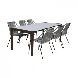 Fineline and Clip Indoor Outdoor 7 Piece Dining Set in Dark Eucalyptus Wood with Superstone and Grey Rope