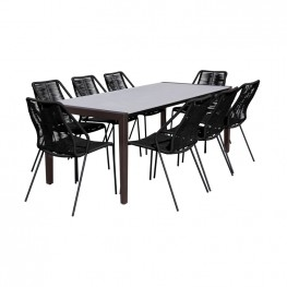 Fineline and Clip Indoor Outdoor 9 Piece Dining Set in Dark Eucalyptus Wood with Superstone and Black Rope