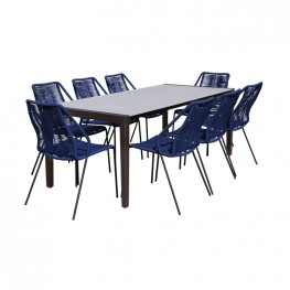 Fineline and Clip Indoor Outdoor 9 Piece Dining Set in Dark Eucalyptus Wood with Superstone and Blue Rope