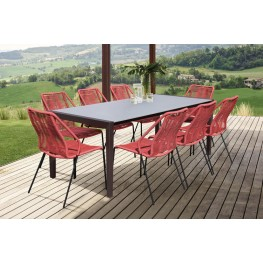 Fineline and Clip Indoor Outdoor 9 Piece Dining Set in Dark Eucalyptus Wood with Superstone and Brick Red Rope