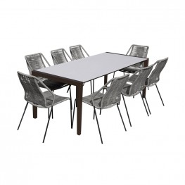 Fineline and Clip Indoor Outdoor 9 Piece Dining Set in Dark Eucalyptus Wood with Superstone and Grey Rope