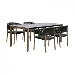 Fineline and Doris Indoor Outdoor 5 Piece Dining Set in Light Eucalyptus Wood with Superstone with Charcoal Rope