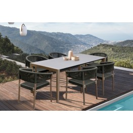 Fineline and Doris Indoor Outdoor 7 Piece Dining Set in Light Eucalyptus Wood with Superstone and Charcoal Rope