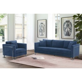 Heritage 2 Piece Blue Fabric Upholstered Sofa & Chair Set