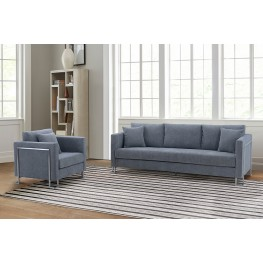 Heritage 2 Piece Gray Fabric Upholstered Sofa & Chair Set