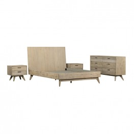 Baly 4 Piece Acacia King Platform Bedroom Set with Dresser and Nightstands