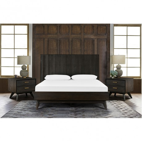 Baly 3 Piece Acacia King Loft Bed and Nightstands Bedroom Set