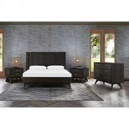 Baly 4 Piece Acacia Queen Loft Bedroom Set with Dresser and Nightstands
