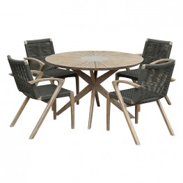 Oasis and Brielle Outdoor 5 Piece Light Eucalyptus and Concrete Dining Set