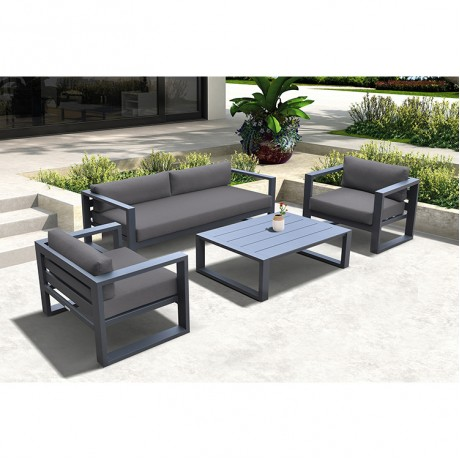 Aelani Outdoor 4 piece Set in Dark Grey Finish and Charcoal Cushions