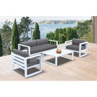 Aelani Outdoor 4 piece Set in White Finish and Charcoal Cushions