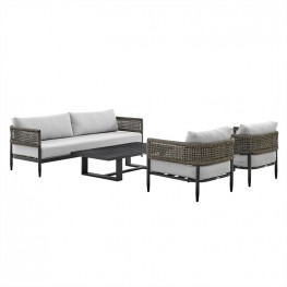 Alegria 4 Piece Outdoor Black Aluminum & Rope Conversation Set with Light Gray Fabric Cushions