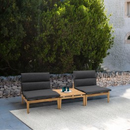 Arno Outdoor 3 Piece Teak Wood Seating Set in Charcoal Olefin