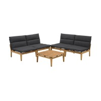 Arno Outdoor 5 Piece Teak Wood Seating Set in Charcoal Olefin