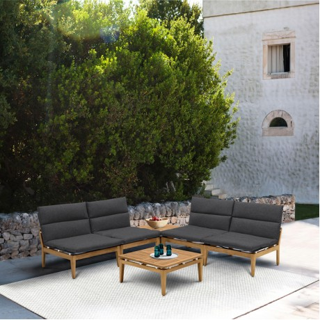 Arno Outdoor 6 Piece Teak Wood Seating Set in Charcoal Olefin