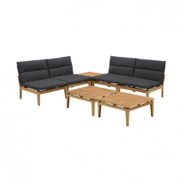 Arno Outdoor 7 Piece Teak Wood Seating Set in Charcoal Olefin