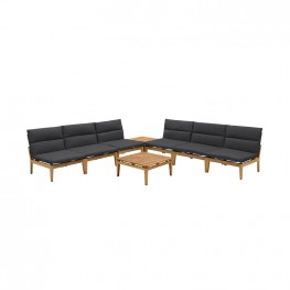 Arno Outdoor 8 Piece Teak Wood Seating Set in Charcoal Olefin