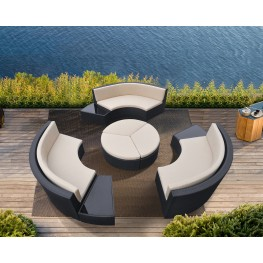 Barbados 9 piece Wicker Outdoor Patio Set in Black Powder Coated Finish with Water Resistant Beige Fabric Cushions
