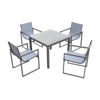 Armen Living Bistro Dining Set Grey Powder Coated Finish (Table with 4 chairs)